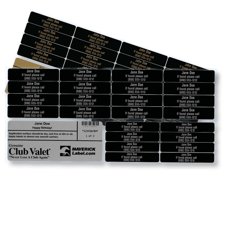 Club Valet golf labels in gold and silver